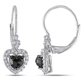 Miadora 10k White Gold 1ct TDW Black and White Diamond Earrings (G-H, I2-I3)