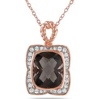 Miadora Pink Silver Smokey Quartz and 1/3ct TDW Diamond Necklace (G-H, I3)