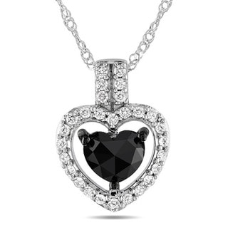Miadora 14k White Gold 1ct TDW Black and White Diamond Heart Necklace (G-H, I2)