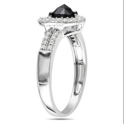 Miadora 14k White Gold 1ct TDW Black and White Diamond Heart Ring (G-H, I1-I2)