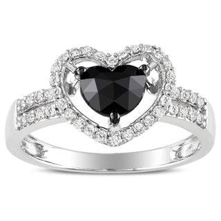 Miadora 14k White Gold 1ct TDW Black and White Diamond Heart Ring (G-H, I1-I2) with Bonus Earrings