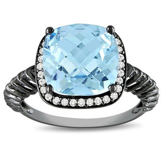 Rhodium/ 10k Gold Blue Topaz and 1/6ct TDW Diamond Ring (G-H, I2-I3)