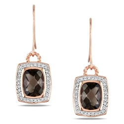 Miadora Pink Silver 1/3 CT TDW Diamond Smokey Quartz Charm Earrings