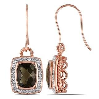 Miadora Pink Silver 1/3 CT TDW Diamond Smokey Quartz Charm Earrings