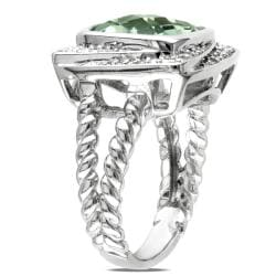 Miadora Sterling Silver Green Amethyst and 1/4ct TDW Diamond Ring (G-H, I3)