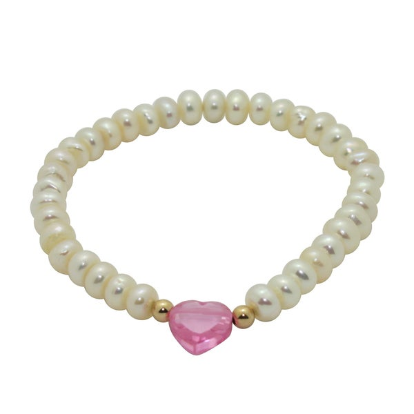 Junior Jewels White Freshwater Pearl and Crystal Baby Bracelet (6 mm)