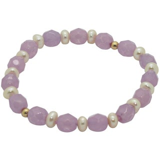 Junior Jewels 14k Gold FW Pearl and Purple Crystal Baby Bracelet (6 mm)