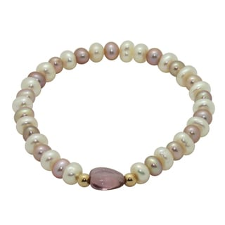 Junior Jewels 14k Gold Multi-colored FW Pearl and Crystal Baby Bracelet (6 mm)