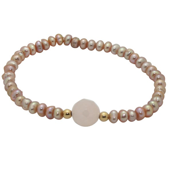 Junior Jewels 14k Gold Pink Pearl and Crystal Baby Bracelet (6 mm)