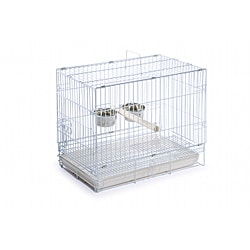Prevue Pet Products Folding White Travel Bird Cage with Plastic Tray