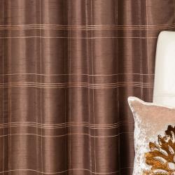 Faux Silk Chenille Check 95-inch Curtain Panel Pair