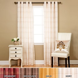 Faux Silk Chenille Check 95-inch Curtain Panel Pair