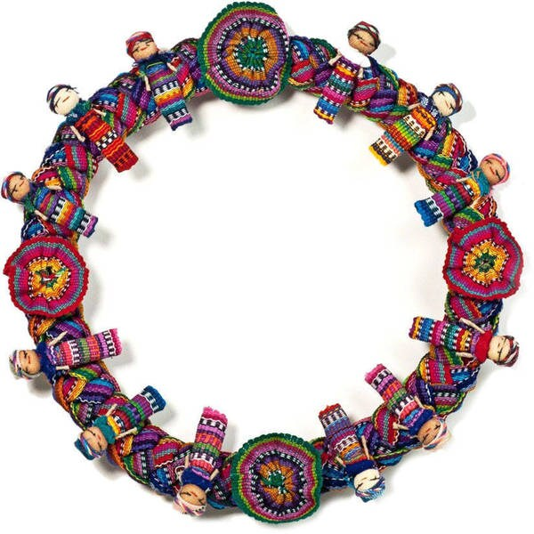 , Handmade in Guatemalan Multicolored Worry Doll Decorative Wreath  , Handmade in Guatemala 8430506