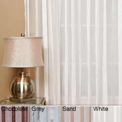 Sheer Faux Silk Herringbone 84-inch Curtain Panel Pair