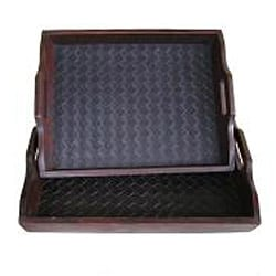 Solid Cedar Wood with Black Faux Leather Decorative Serving Tray Set