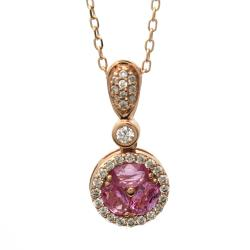 Beverly Hills Charm 14k Rose Gold Pink Sapphire and 1/3ct TDW Diamond Necklace