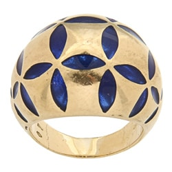 Pre-owned Antonini 18k Yellow Gold Blue Enamel Estate Cocktail Ring