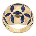 Antonini 18k Yellow Gold Blue Enamel Estate Cocktail Ring
