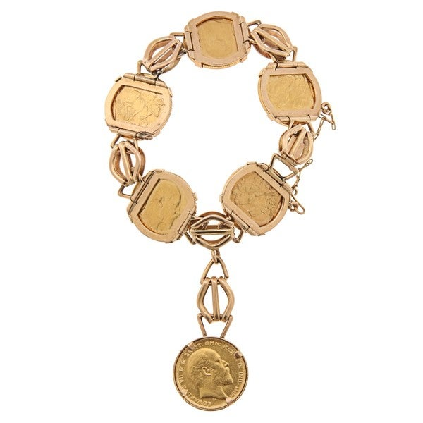 18k/ 22k Gold Six Gold Sovereign Coin Estate Bracelet