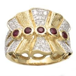 Beverly Hills Charm 14k Yellow Gold Ruby and 3/4ct TDW Diamond Ring (H-I, I2)