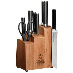 Ginsu Chikara 8-piece Cutlery Set with Wood Block and Bonus Bread Knife