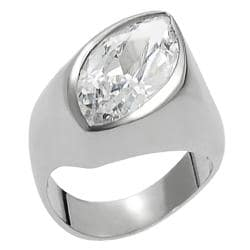 Journee Collection Silvertone Marquise-cut Cubic Zirconia Ring