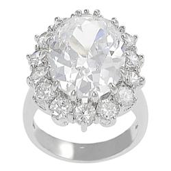 Journee Collection Silvertone Oval-cut Cubic Zirconia Ring