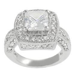 Journee Collection Silvertone Princess-cut Cubic Zirconia Ring