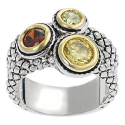 Journee Collection Silvertone Yellow, Red, and Green CZ Ring