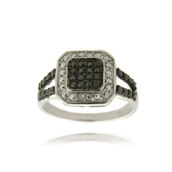 Finesque Silverplated Diamond Accent Black and White Square Ring
