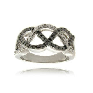 Finesque Diamond Accent Black and White Braided Ring
