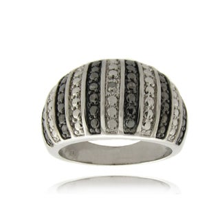 Finesque Silver Overlay Diamond Accent Black and White Stripe Ring