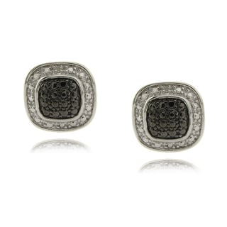 Finesque Silverplated Diamond Accent Black and White Square Earrings