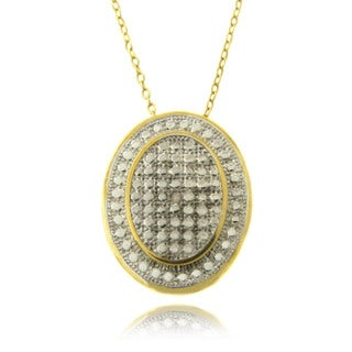 Finesque 14k Gold Overlay Diamond Accent Oval Necklace