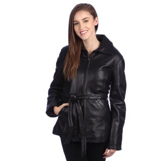 United Face Women's Classic Belted Lambskin Leather Jacket