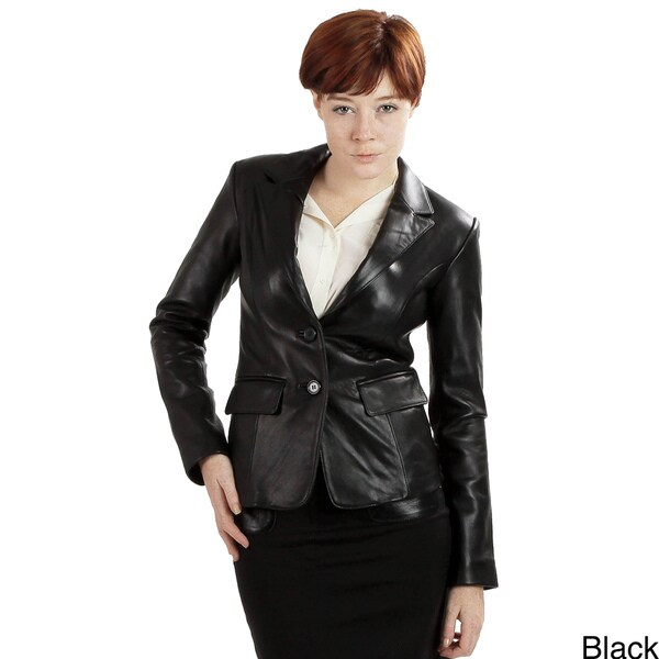 United Face Women's Two Button Leather Blazer