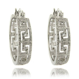 Finesque Silver Overlay 1/4ct TW Diamond Greek Key Earrings (I-J, I2-I3)