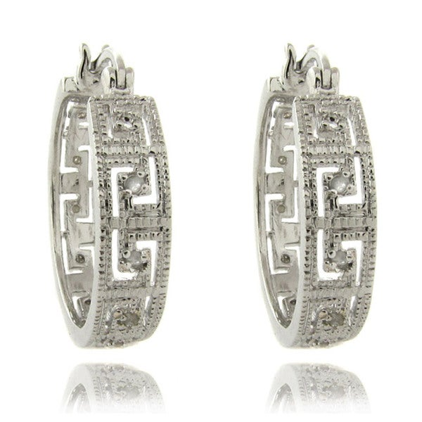 Finesque Silver Overlay 1/4ct TW Diamond Greek Key Earrings (I-J, I2-I3)
