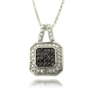Finesque Silver Overlay Diamond Accent Square Necklace