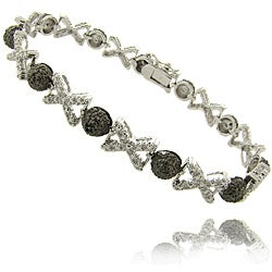 Finesque Silverplated Black Diamond Accent 'X' and 'O' Bracelet