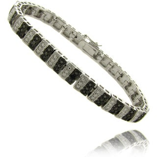 Finesque Silver Overlay Black Diamond Accent Stripe Bracelet
