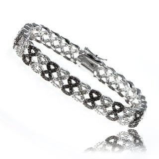 Finesque Silver Overlay 1/4ct TDW Black and White Diamond Bracelet (I-J, I2-I3)