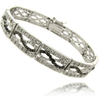 Finesque Silverplated 1ct TDW Black and White Diamond Bracelet (I-J, I2-I3)