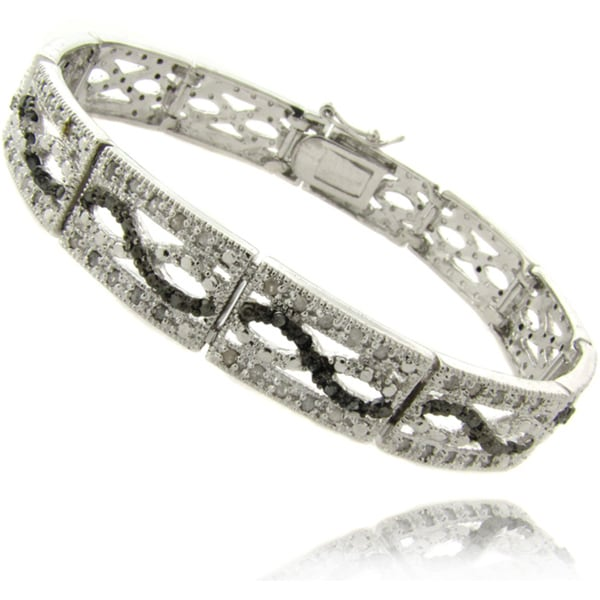 Finesque Silverplated 1ct TDW Black and White Diamond Bracelet 8431065