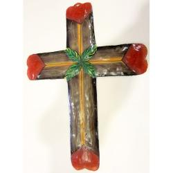 Handcrafted Painted Crucifix Oil Drum Hanging Wall Art (Haiti)