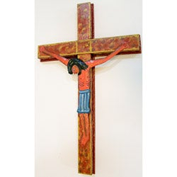 Handcrafted Painted Crucifix Oil Drum Art (Haiti)