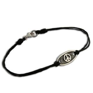 Sterling Silver Peace Symbol Bracelet (Thailand)