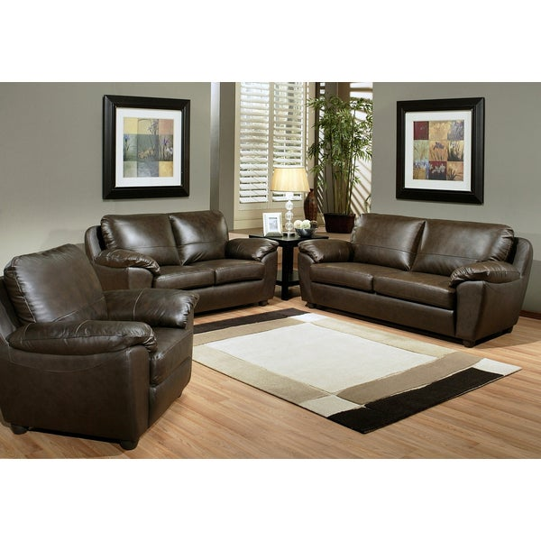 Abbyson Living Sedona 3 Piece Premium Top Grain Leather Sofa Loveseat And Armchair Set