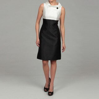 Tahari Women's Ivory/ Black Colorblock Dress
