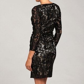 Tahari Women's Black Lace Sheath Long-sleeve Dress